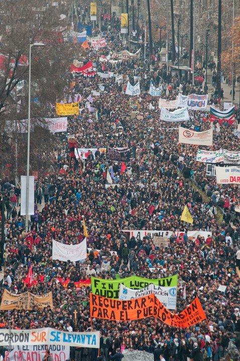 Greve estudantil no Chile contra a privatização do ensino