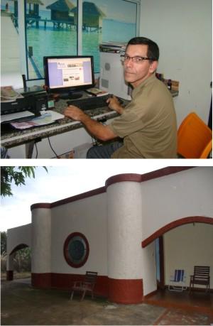 Fundador e Editor-Chefe, jornalista Geraldo Ferreira (Gegê) e a nova sede do jornal O Arrastão