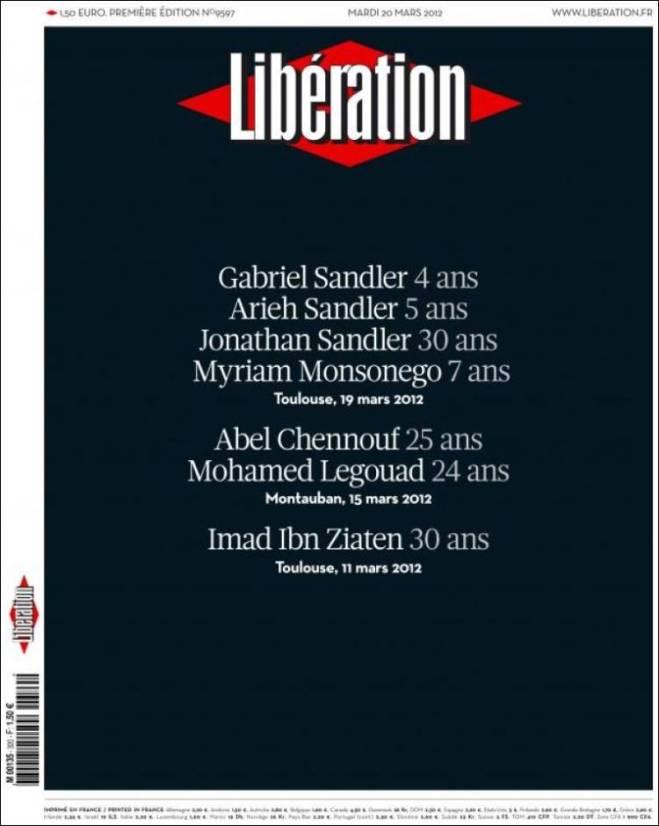 Na capa de hoje, a lista dos mortos dos três atentados