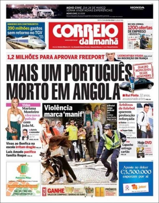 A imprensa potuguesa escondeu a greve. Foto registra momento da agressão policial a uma jornalista