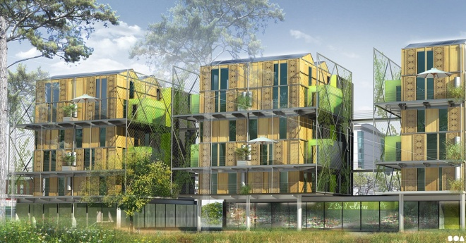 La démarche architecturale de ce projet est de réinventer le logement collectif pour lui attribuer les avantages tant recherchés de la maison individuelle