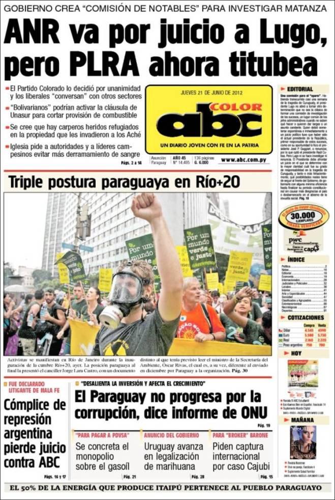 Jornal golpista faz a campanha da derrubada de Ludo