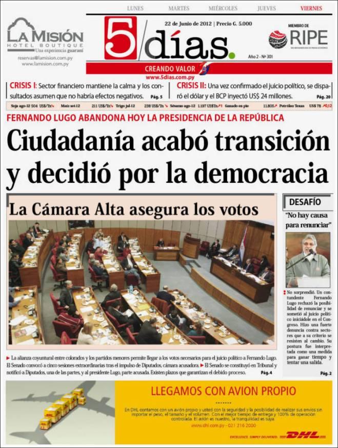 Jornal safado e golpista mente. Paraguai retorna aos tempos da ditadura dos militares, dos latifundiários, do apartheid indígena, da escravidão dos camponeses, dos campos de concentração do nazista de Stroessner