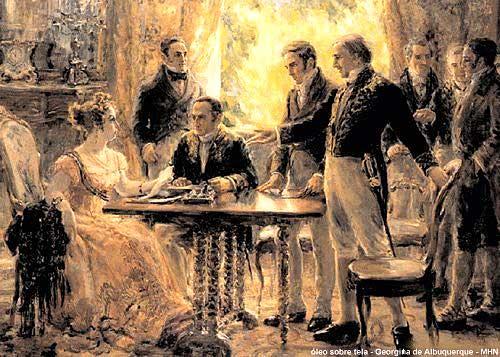 Princesa Isábel assina a Lei Áurea. Sem a presença do negro