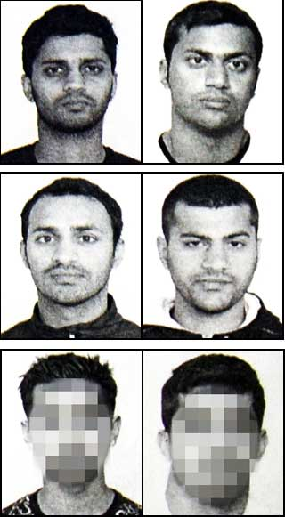 Os irmãos Metralha. Os irmãos RASOOL:  Ghulam Abbas (na época com 31 anos), Shahid Rasool (26), Zahid Rasool (29), Yasir Rasool (23), mann (21) og mann (28)