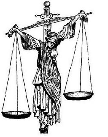 justiça crucificada balança