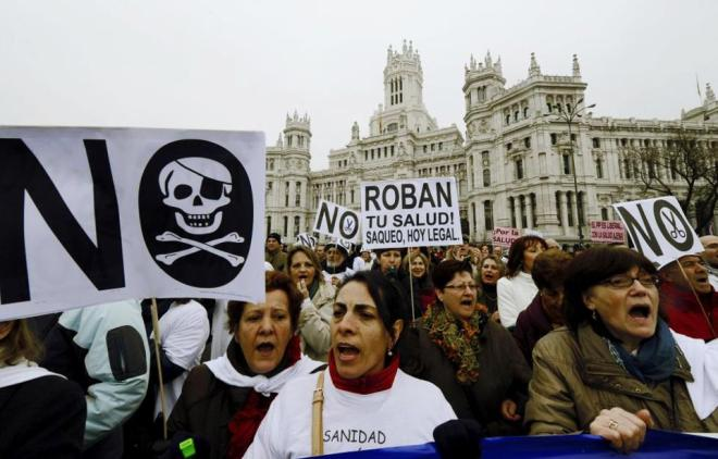Na Espanha, o povo nas ruas em defesa da saúde pública
