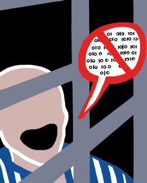 Ricardo Antunes continua preso e censurado. Cartoon SOLEDAD CALÉS