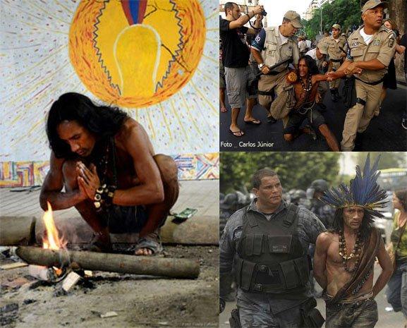Ash Ashaninka, orando para o Grande Espírito, pedindo paz na Aldeia Maracanã. O fogo é o elemento de conexão com os espíritos. Terminou  preso