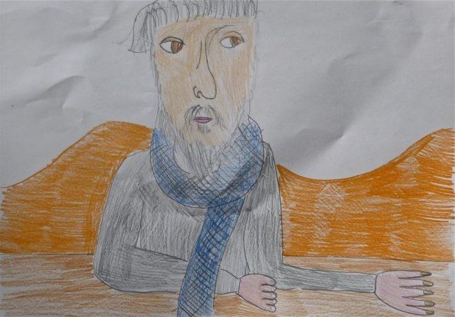 Carlos Sánches desenhado pela neta Leila de 9 anos