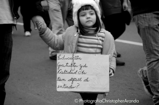 Estudante Chile. Marcha das crianças