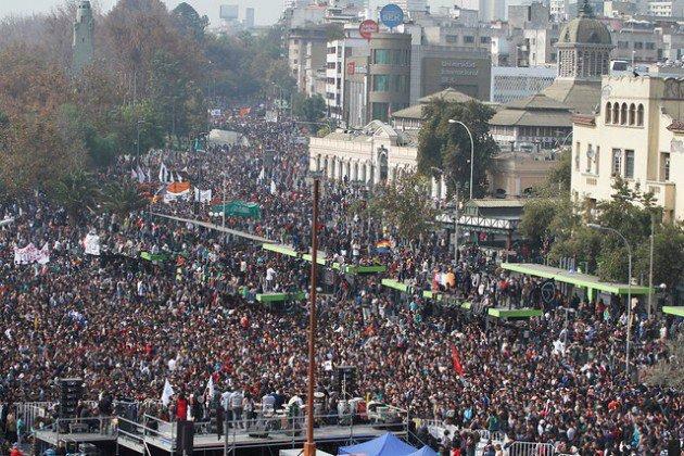 Estudantes nas ruas do Chile