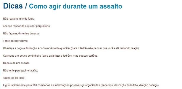Recomendações do site da Secretaria de Segurança da Bahia
