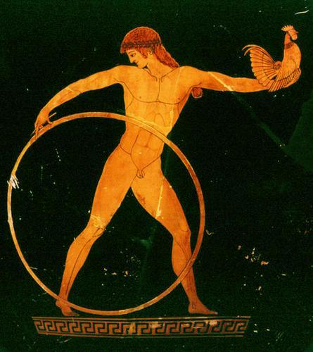 Vaso grego, 500 - 490 a.C., Louvre. Detalhe: Ganimedes tem pousado na mão um galeto. Daí a origem do termo depreciativo frango. Quando na mitologia grega era o símbolo do amor entre os homens. Ou entre o deus supremo Zeus e Ganimedes.