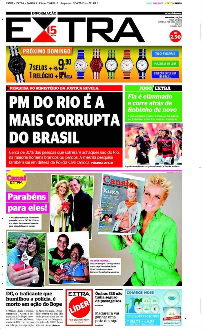 br_extra. polícia Rio mais corrupta