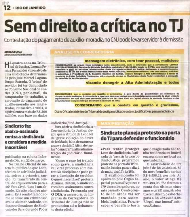 Jornal O Dia. Clique para ampliar