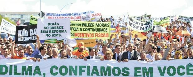 Os governadores realizam marcha em Brasília