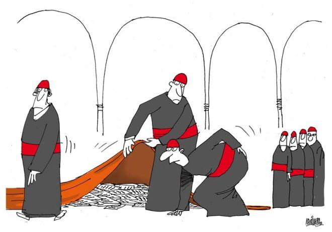 Conclave quer dizer com chave. Reunião de porta fechada. Ou conchavo secreto. Charge de Alfredo Martirena