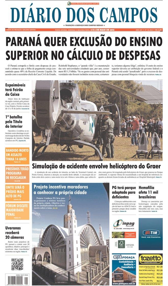 BRA^PR_DDC Ponta Grossa manchete pela privatização do ensino