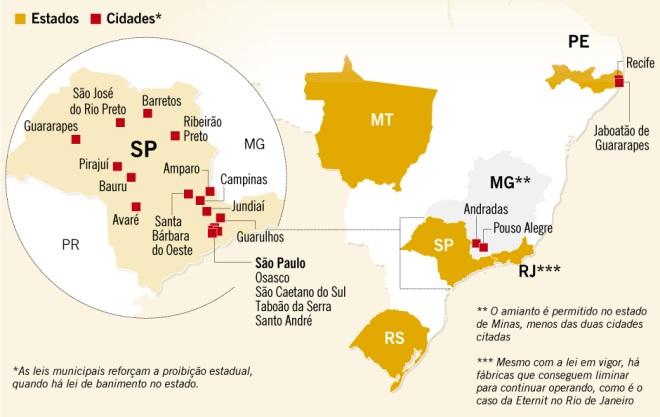 Estados e cidades do país que possuem legislações contra a fibra. Infografia do jornal O Globo