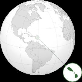 Localização de São Cristóvão e Nevis (em verde) no Caribe