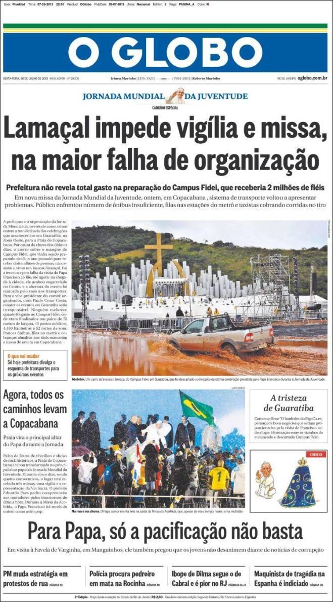 IMPRENSA BRASILEIRA BOTA DEFEITO NA VIAGEM DO PAPA