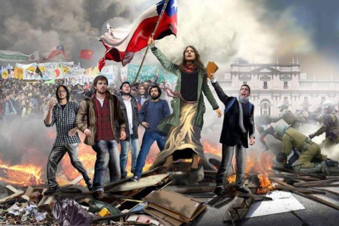 Movimento estudantil do Chile. Camila Vallejo representa a Deusa da Liberdade