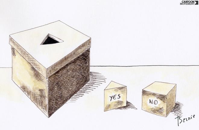 Da arte de enfiar quatro votos quadrados no buraco triangular de uma urna governista. Ilustração de Barnard Bouton