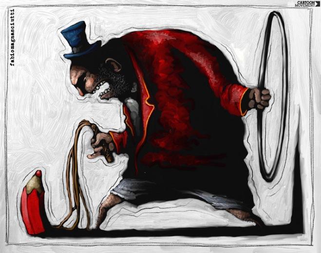 O feitor da redação do Jornal do Comércio. Ilustração de Fabio Magnasciutti