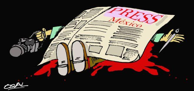 O Brasil mata mais jornalistas que o México. Ilustração de  Osvaldo Gutierrez Gomes