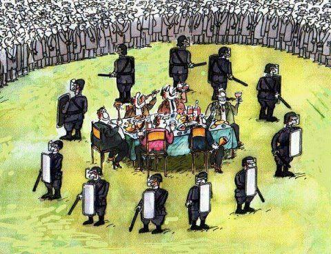 polícia banqueiro poder protesto