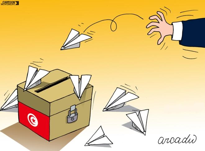 Ninguém consegue fiscalizar uma urna volante. Ilustração de  Arcadio Esquivel