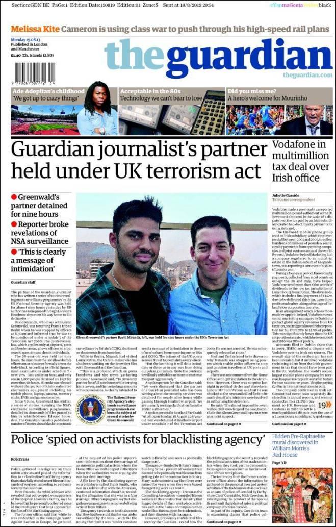 A imprensa inglesa abre, sem medo, a primeira página para denunciar o terrorismo estatal. A imprensa brasileira esconde. Tão acostumada com a censura e a autocensura... considera coisa normal e costumeira