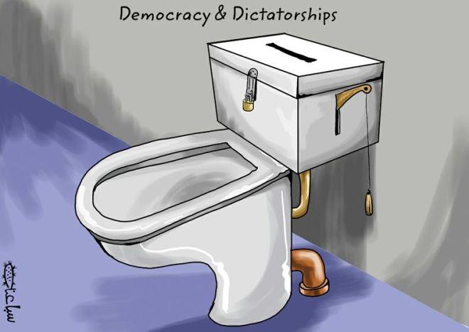 A urna do prédio abandonado do Sindicatos dos Jornalistas Profissionais de Pernambuco. A ditadura dos capangas da CUT. A farsa eleitoral a partir de uma ilustração de Mohammad Saba'aneh