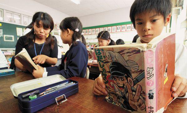 Alunos na escola primária de Honkawa: cerca de dez mil estudantes brasileiros estão matriculados nas escolas públicas japonesas