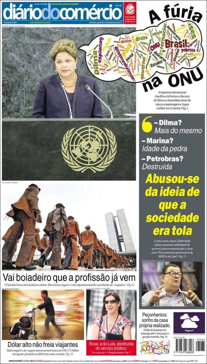 br_diario_comercio. Dilma Onu duvidosa manchete de jornal entreguista