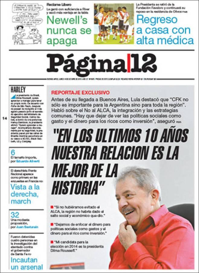 ar_pagina12. Lula Argentina Cristina