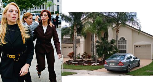 """Bispa Sonia presa com dólares na """"Bíblia"""". Acima, a mansão em Miami"""