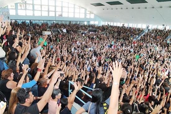 Assembleia de professores em agosto de 2013