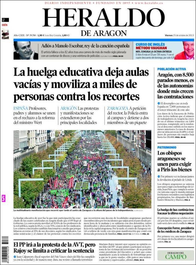 heraldo_aragon. greve pais e alunos