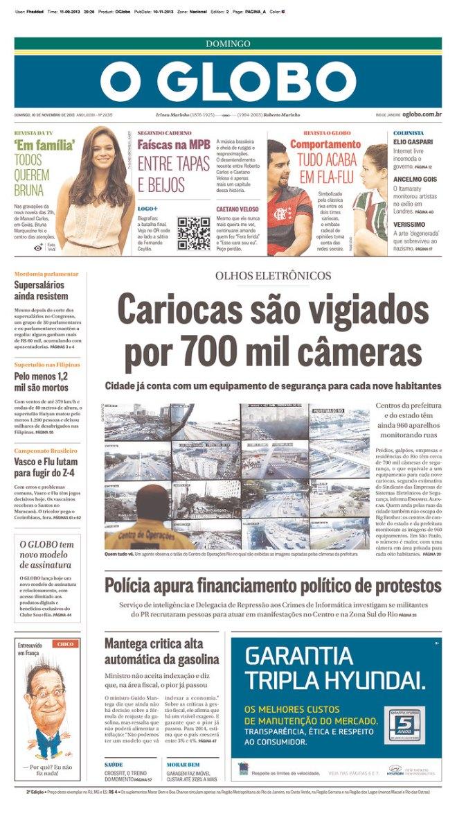 BRA_OG 700 mil câmaras espionagem polícia crime Rio