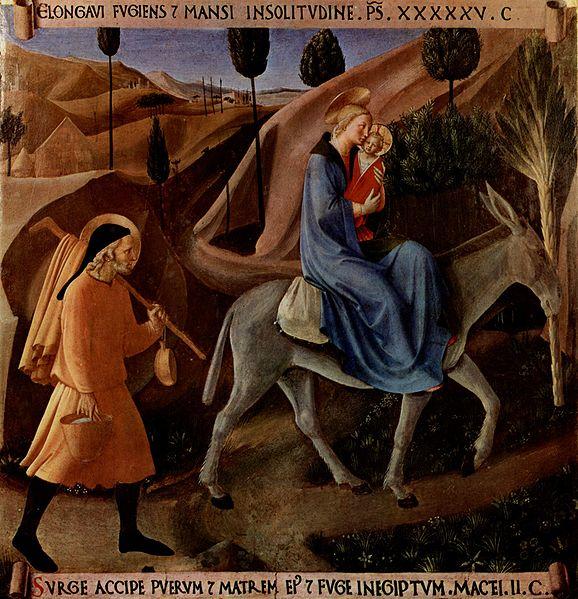 A Fuga para o Egito. Por Fra Angelico, no Museo di San Marco, em Florença