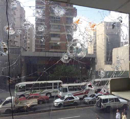 Dispararon contra las oficicinas del Ministerio del Poder Poular para el Transporte Terrestre