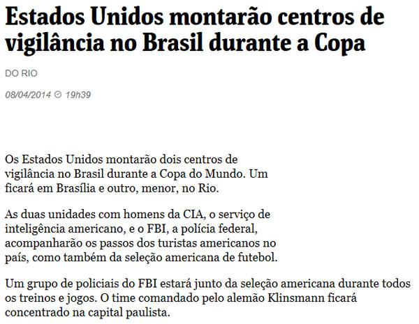 Reprodução da Folha de S.Paulo online