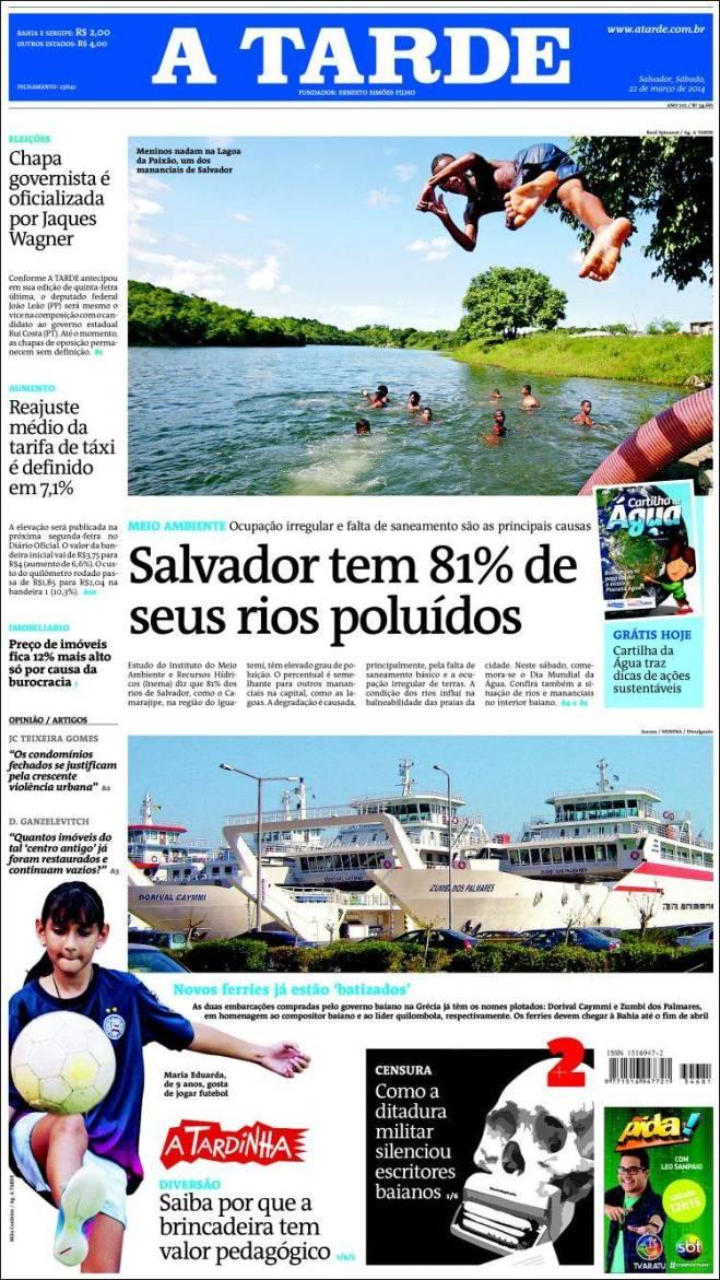 br_atarde. Salvador rio água poluição