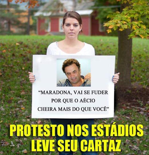 protesto Copa estádio pó Aécio