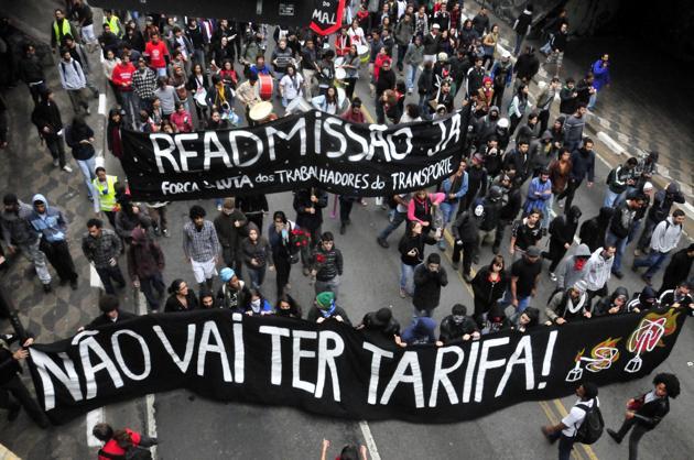 Movimento tarifa zero, quinta-feira última, em São Paulo
