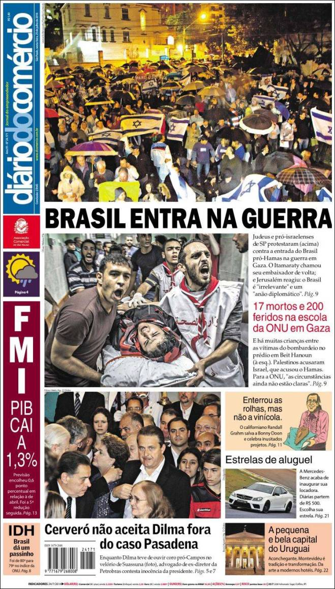 br_diario_comercio. Gaza Israel Brasil guerra