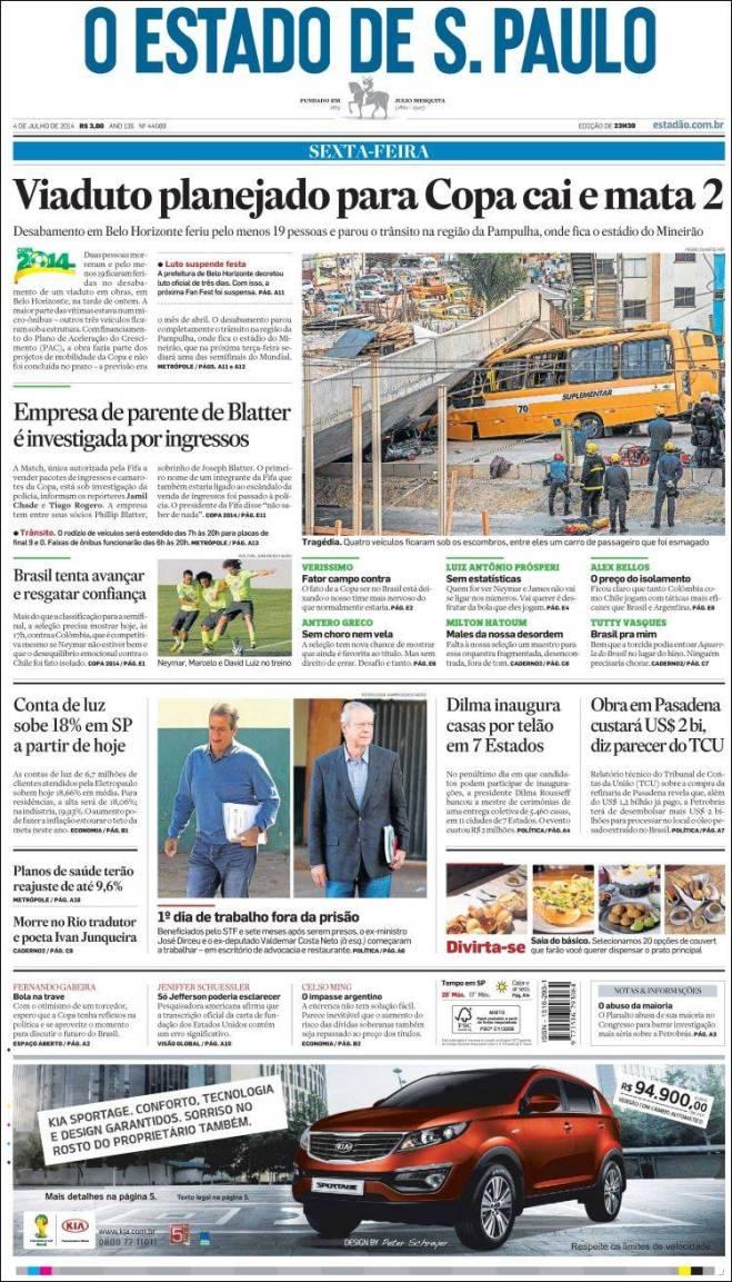 Para o Estadão a culpa é da Copa. Falta água em São Paulo e a culpa  é da Copa. Neymar sofre fratura na vértebra por culpa da Copa. O metrô de São Paulo recebe milhões de euros de propina em nome da Copa