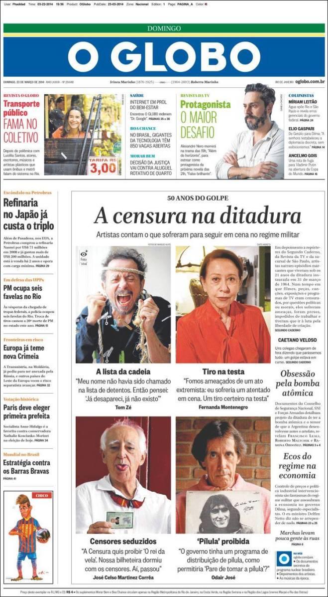 br_oglobo. censura na ditadura